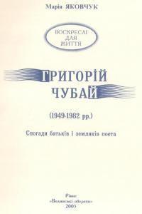 Григорій Чубай (1949—1982 рр.). Спогади батьків і земляків поета