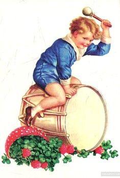 Открытка Bohemian style Мальчик с барабаном